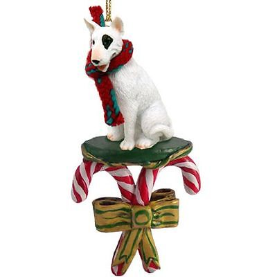 Bull Terrier White Dog Candy Cane Christmas Tree ORNAMENT