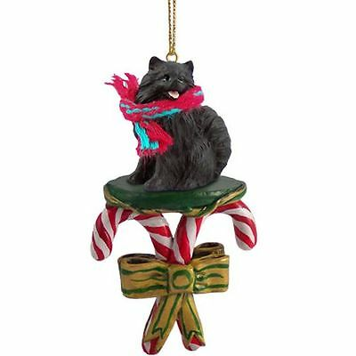 Pomeranian Black Dog Candy Cane Christmas Tree ORNAMENT