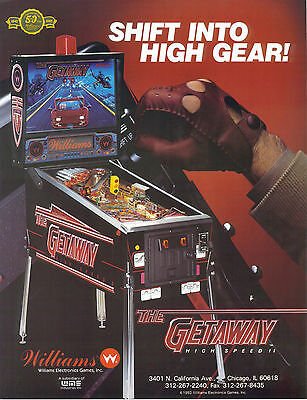 1992 Williams The Getaway Pinball Flyer