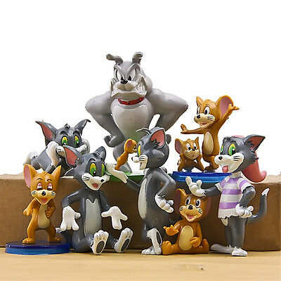 9pcs Tom and Jerry Spike Cartoon Cat Mouse Dog Animals Action Figures Toy Gifts