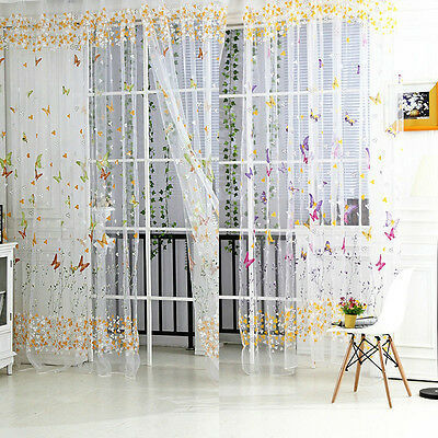 Butterfly Leaves Voile Tulle Curtain Sheer Panel Drapes Balcony Door Window Room