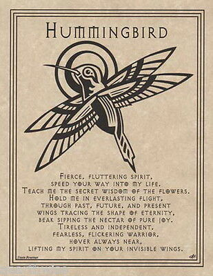HUMMINGBIRD PRAYER POSTER A4 SIZE Wicca Pagan Witch Witch Goth BOOK OF SHADOWS