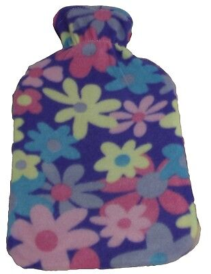 Hot Water Bottle with Soft Purple Fleece Cover & Flower Petals Design 2L NEW