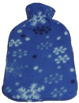 Hot Water Bottle with Super Soft Blue Fleece Cover with Snowlakes Design 2L NEW