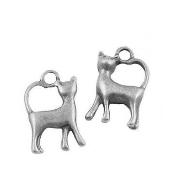 Packet of 12 x Antique Silver Tibetan 17mm Charms Pendants (Cat) ZX02685