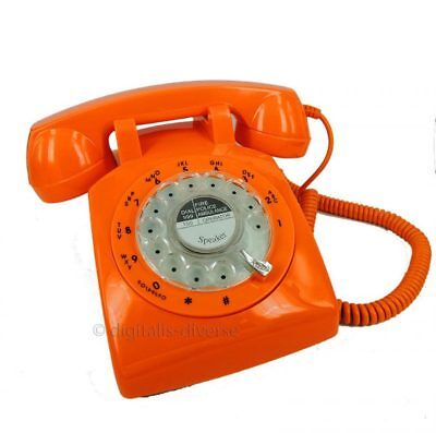 Orange Retro Rotary Dial Corded Telephone 1970s Style Old Fashioned Desk Phone