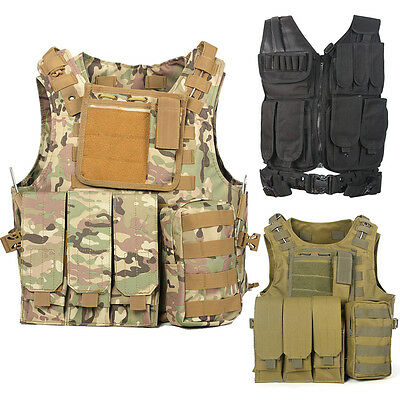 Tactical Military Vest Army Paintball Airsoft Combat Assault Vest Adjustable UK