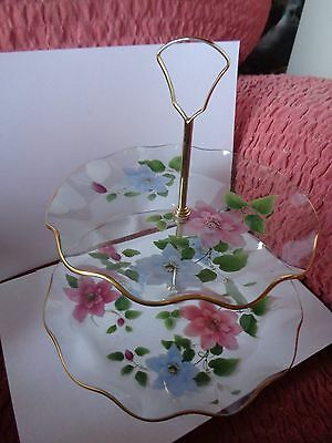 Vintage British Chance Glass Two Tiered Cake Plate With Original Box Clematis 71
