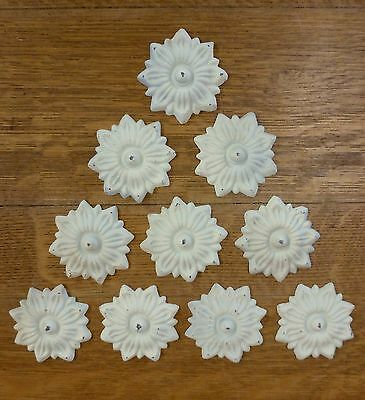 "10 WHITE 3.5"" DECORATIVE FLOWER CAST IRON EMBELLISHMENT garden gate door fence"