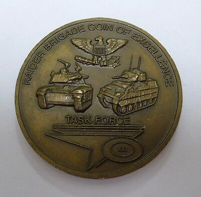RAIDER BRIGADE 1st BDE 4th ID COIN OF EXCELLENCE TASK FORCE CHALLENGE COIN USED