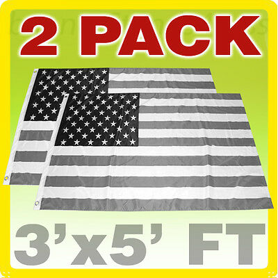 2 PACK 3x5 FT American Flag Black White BW USA Economic Recession - kb