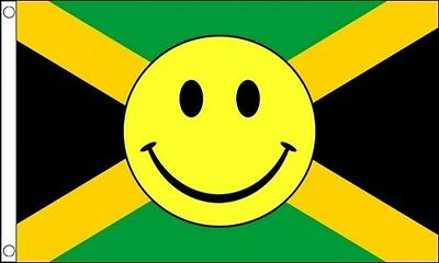 JAMAICA SMILEY FACE FLAG 5' x 3' Jamaican Happy Face Caribbean Festival Party