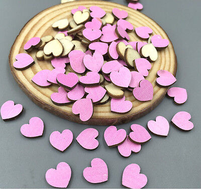 DIY 100pcs mini pink heart-shaped Wooden Scrapbooking Charms Diameter 10mm