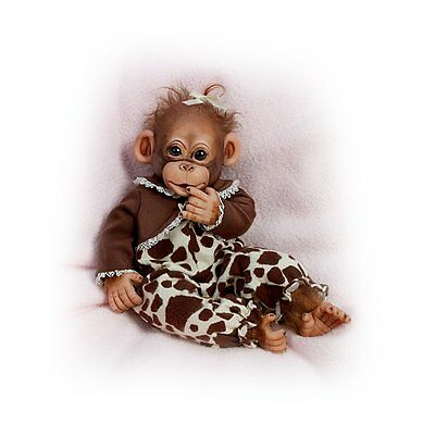 """PRECIOUS 14"""" SO REAL BABY MONKEY in ANIMAL PRINT CLOTHING BABY DOLL DOLLS NEW"""
