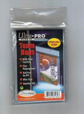 (100 / 1 Pack ) Ultra Pro Team Set Bags Resealable Strip Card Storage Bags