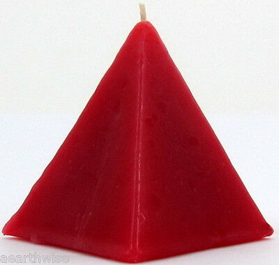 1 x RED CINNAMON PYRAMID CANDLE Wicca Goth Witch Pagan Altar Reiki Spell