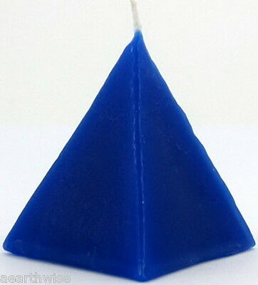 1 x BLUE JASMINE PYRAMID CANDLE Wicca Goth Witch Pagan Altar Reiki Spell COURT