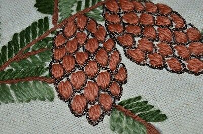 Deck The Halls With Christmas Pinecones! Vtg German Large Tablecloth Wool Thread