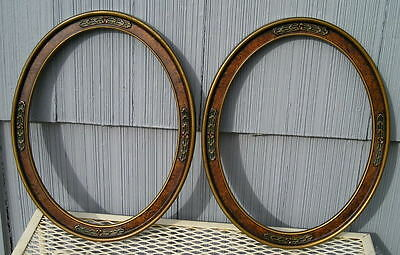Antique Pair Art Nouveau Art Crafts Oval Picture Frames Floral 10 3/4 x 13 3/4