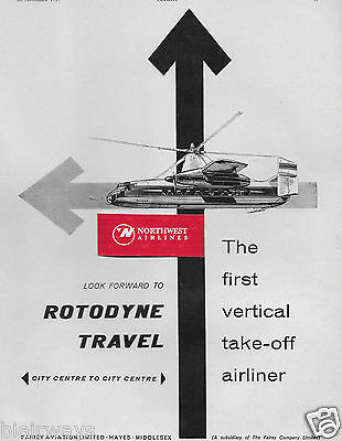 Fairey Rotodyne Helicopter  First Vertical Take Off Airliner 1959 Ad