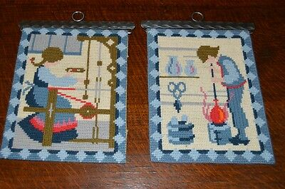 Colonial Times! Matching Finished Needlepoint Lot Of 2 Glassblower Lady Loomer