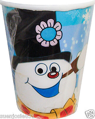 Christmas Frosty the Snowman 9oz Hot Cold Paper Cups 8pcs Party Supplies