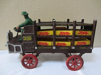 Vintage Antique Cast Iron Charlotte Pepsi Cola Delivery Truck with Driver Cases