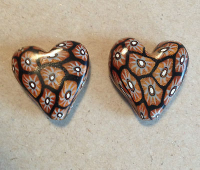 Heart 18mm Longhorn Gold/Black Polymer Clay Bead - Handcrafted, Nepalese, Craft