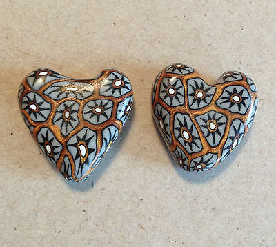 Heart 18mm Longhorn Silver/Gold Polymer Clay Bead - Handcrafted, Nepalese, Craft