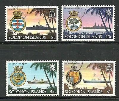 Album Treasures Solomon Islands Scott # 435-438 Ships & Crests VFU CDS