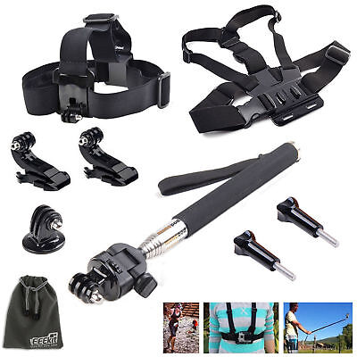 EEEKit Head/Chest Strap+Monopod Accessories for Gopro Hero 5 4 Black Session LCD