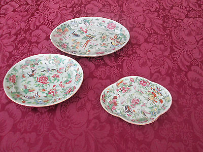 COL01 Set 3 Antique Chinese Export Bowl Plate s