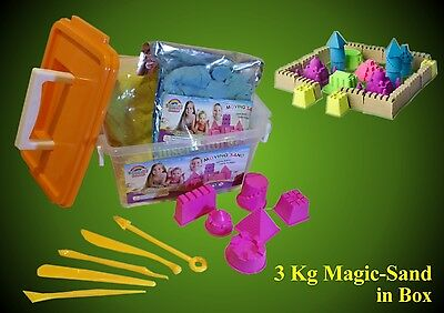 3 Kg Magic Sand,Indoor Sand,Zauber Sand-Box,6 Förmchen + 5 Spachtel SpielsSand