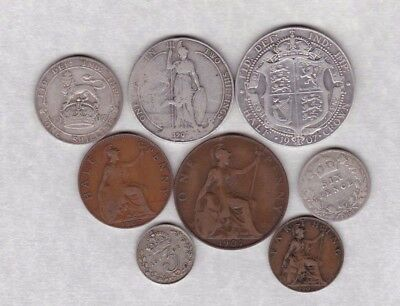 1907 Edward Vii Part Set Of Six Coins In Fair To Fine Condition