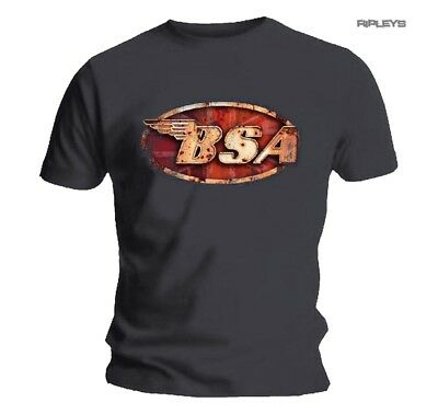 Official T Shirt BSA British Motorbike Grey   Classic LOGO Vintage Motorcycle Al