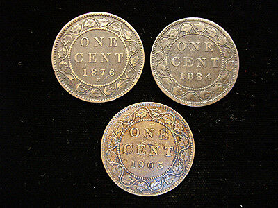 Canada Large Cent Group - 1876H - 1884 - 1903 - Nice Early Copper - Get All 3