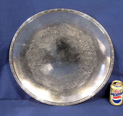 "Vtg Antique Large 20"" Silverplate Tray Rochester Club Atenohsah w/ Indian Motif"
