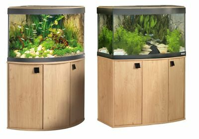 Fluval Vicenza Venezia Fish Tank Cabinet Aquarium Natural Oak Bow Front Curve