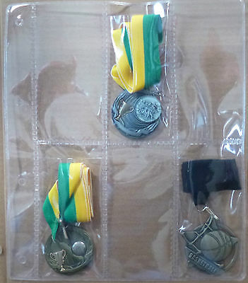 PLASTIC PAGES for SPORTING MEDAL COLLECTION 6 pocket PAGES - Pack of 12