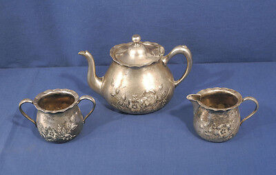 Antique Victorian Barbour Silverplate Teapot + Creamer Sugar Aesthetic Movement