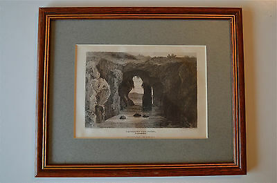 Original Antique Framed Print Catherines Cave Tenby Pembrokeshire Wales 1815 8