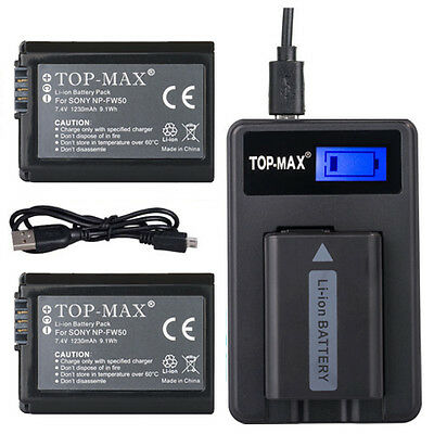 2 x NP-FW50 Battery + USB charger for Sony ALPHA 3000 6000 SLT-A55 A33 A37 NEX-3