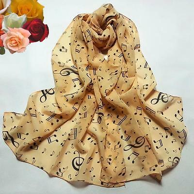Women Chiffon Musical Note Modern Princess cute vintage Elegant lovely Scarves S