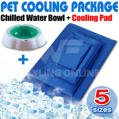 Pet Bed Non-Toxic Cooling Cool Water Gel Mat Summer Pad With Chilled Water Bowl