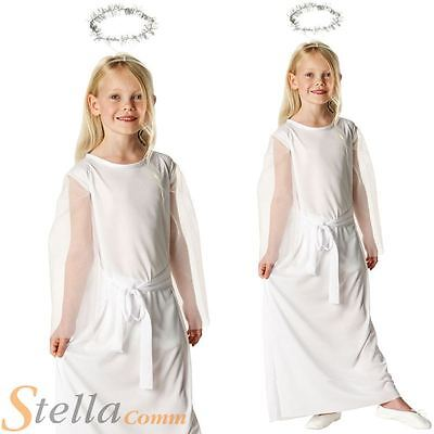 0e47b020dc Girls Angel Nativity Costume + Halo Christmas Child Fancy Dress Costume  Outfit
