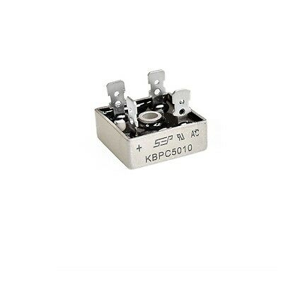 2pcs 50A 1000V Metal Case Single Phases Diode Bridge Rectifier KBPC5010