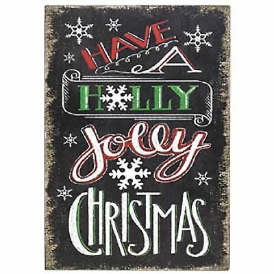 """Chalk Board Wall Plaque Christmas Message """"Have a Holly Jolly Christmas"""""""