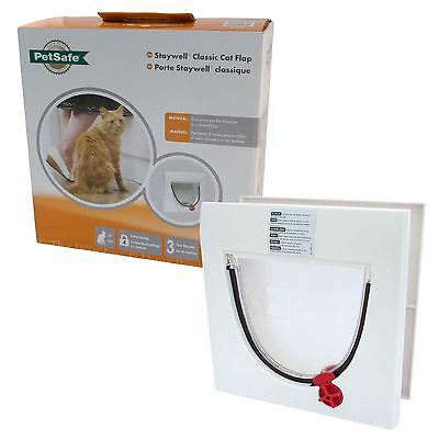 New Staywell Petsafe 917 4 Way Locking Cat Flap Door & Tunnel Up To 60mm Thick