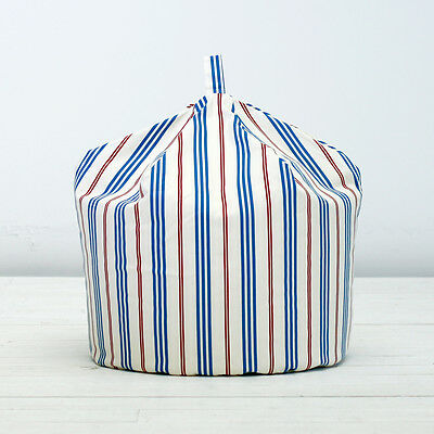 Childrens Kids Blue Red Stripe Boys Cotton Indoor Chair Seat Beanbag Bean Bag