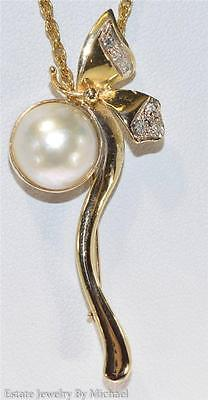 Vintage 14k Yellow Gold 12mm Pearl & GSI Genuine Diamond Butterfly Brooch Pin 5g